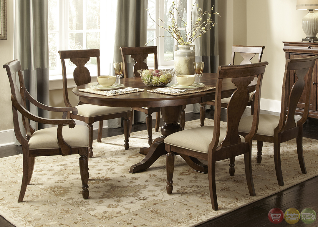 rustic brown transitional oval pedestal table chairs 7pc