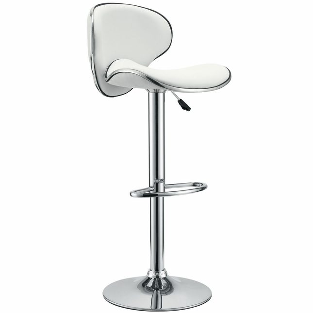 Saddleback Modern Vinyl Wave Seat Bar Stool w/ Chrome Base, White