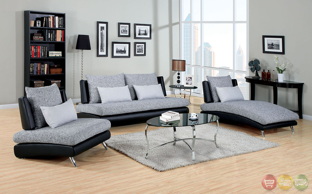 contemporary gray and black living room set with pillows cm6111