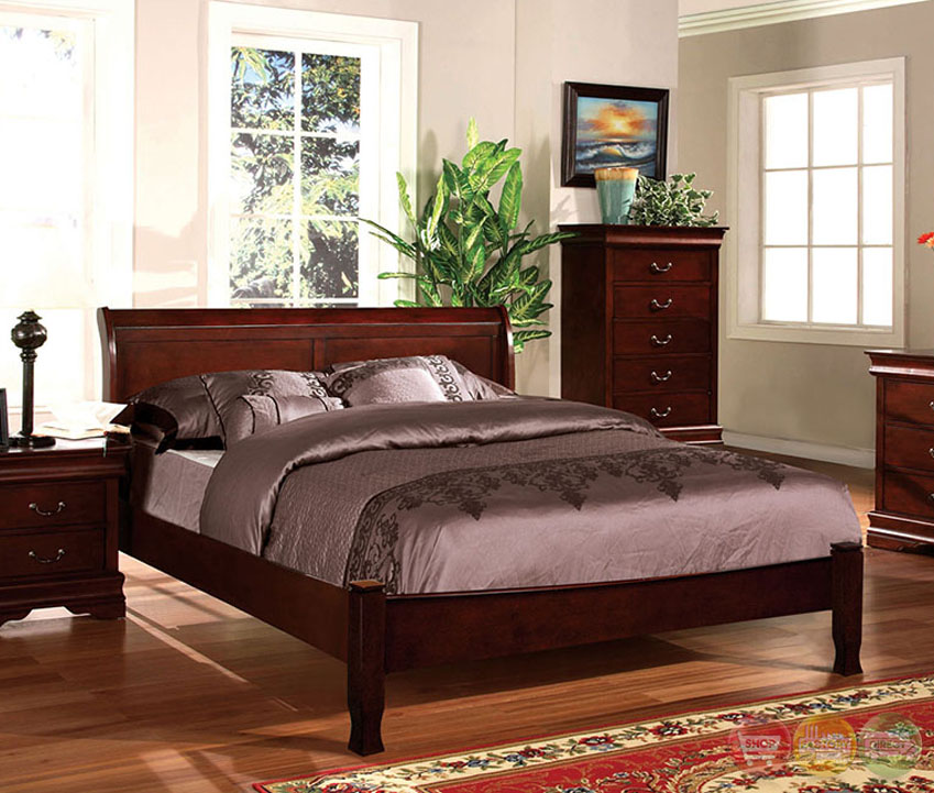saint anne transitional cherry sleigh bedroom set with antique bronze