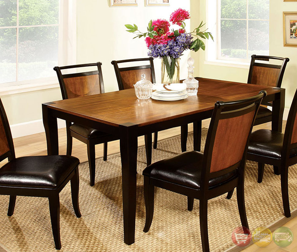Casual Dining Room Furniture Sets: Salida I Acacia And Black Casual Dining Set With Padded