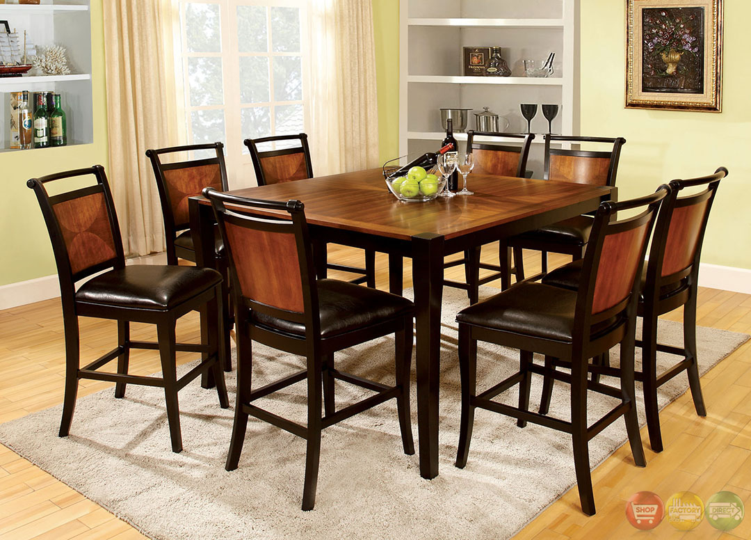 Salida III Acacia and Black Counter Height Dining Set with Padded ...