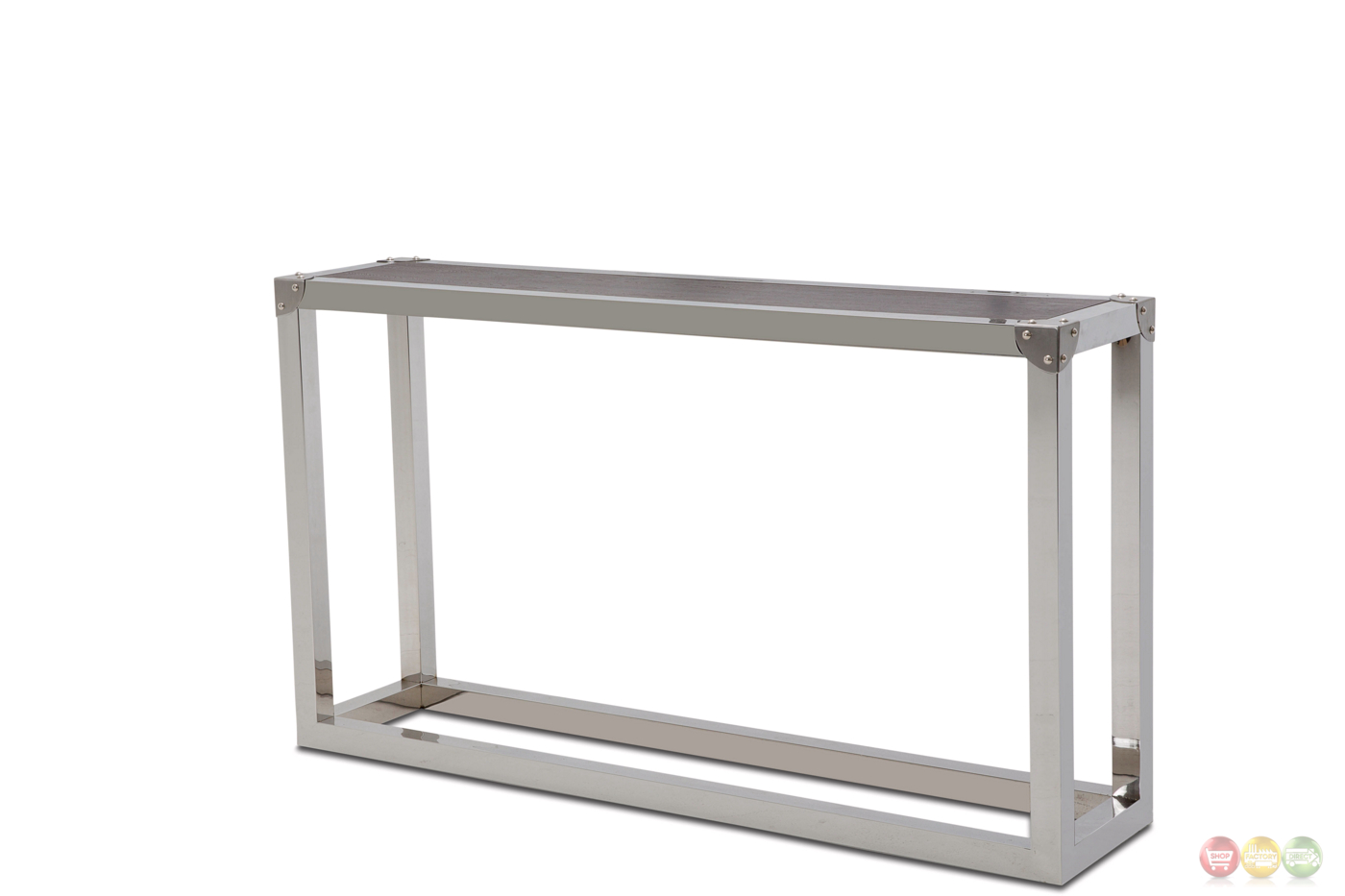 Salvatore Stainless Steel Sofa Table With Wood Top In