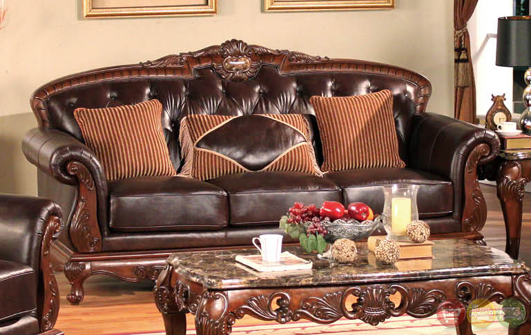 samantha traditional dark wood formal living room sets with carved