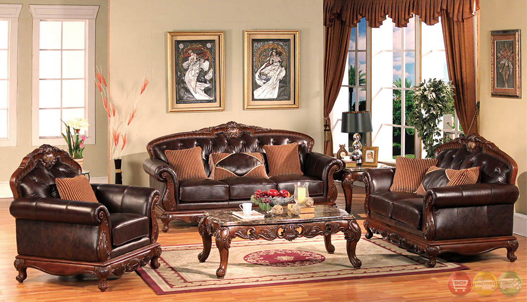 Dark wood formal living room sets with carved accents rpcmo89