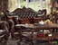 Versailles Traditional Dark Brown Button Tufted Formal Sofa Set Carved Wood