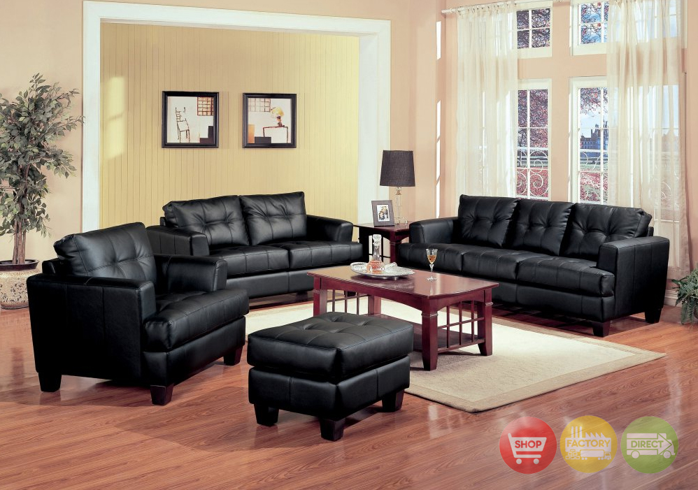 Samuel Black Bonded Leather Living Room Sofa And Loveseat Set Living Room Fur