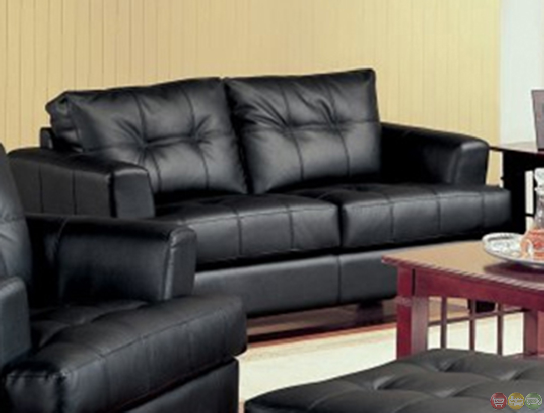 black bonded leather living room sofa and loveseat set living room