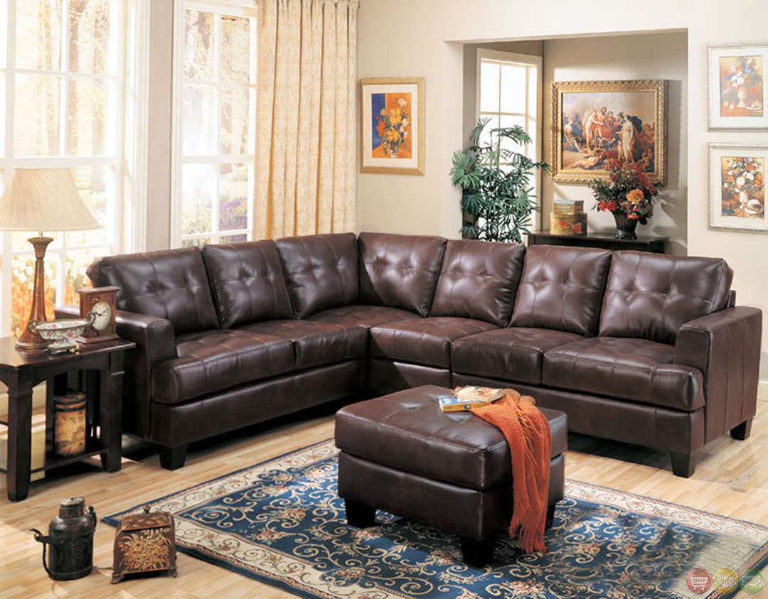 Samuel Brown Bonded Leather Sectional Sofa Contemporary L Shape