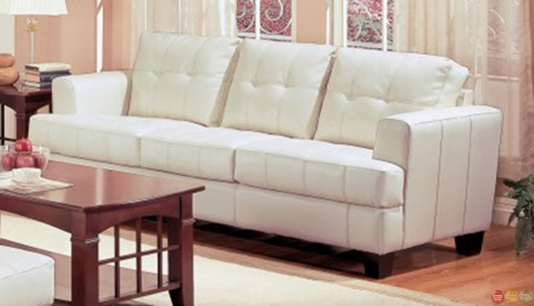 samuel cream bonded leather living room couch and loveseat