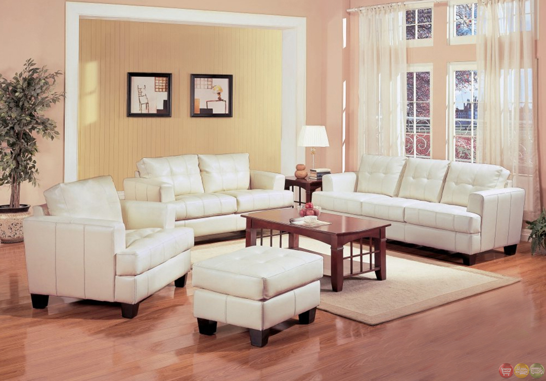 Samuel Cream Off White Bonded Leather Living Room Sofa Loveseat Couch S