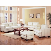 Samuel Cream Bonded Leather Living Room Couch and Loveseat Set