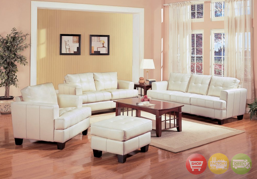 cream bonded leather living room couch and loveseat set living room