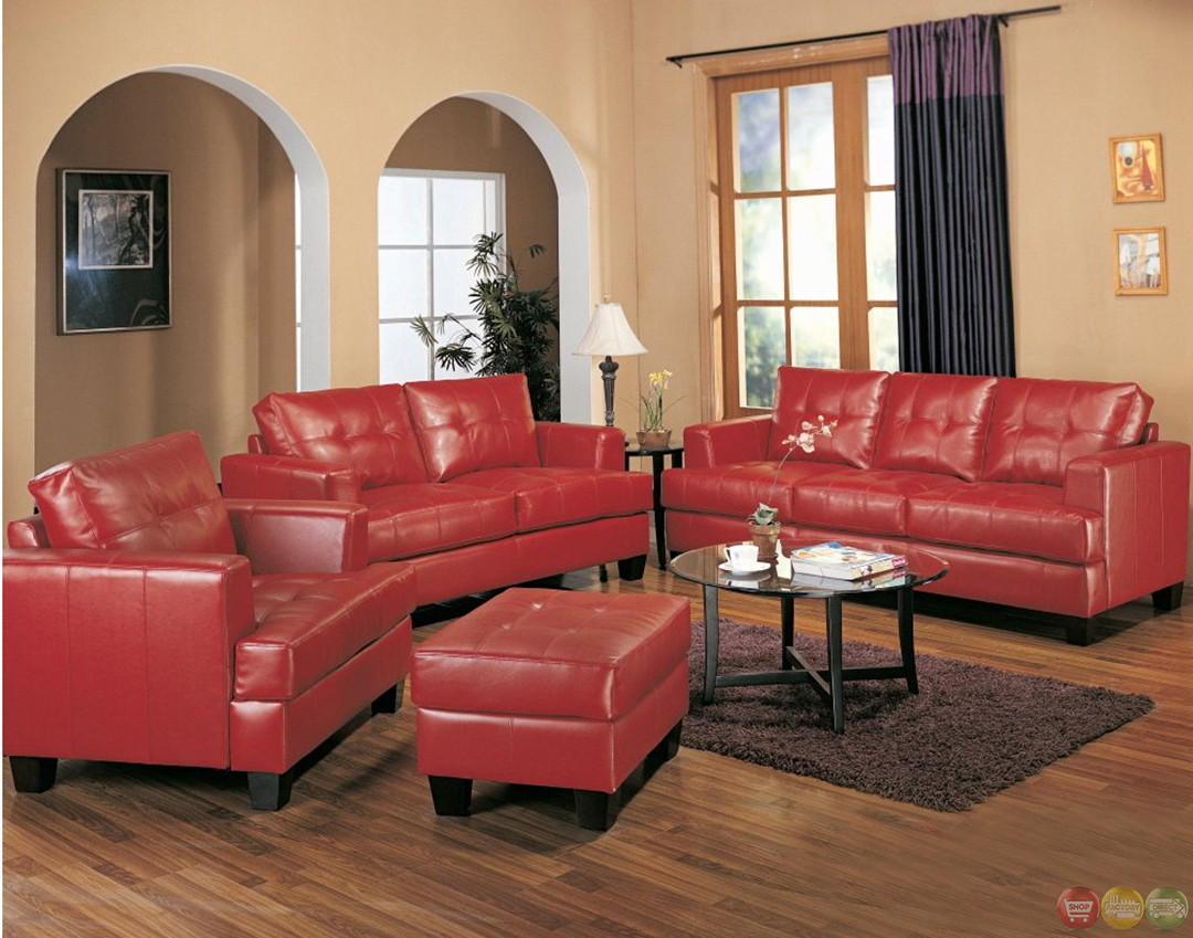 Red Living Room: Samuel Red Bonded Leather Sofa And Love Seat Living Room Set
