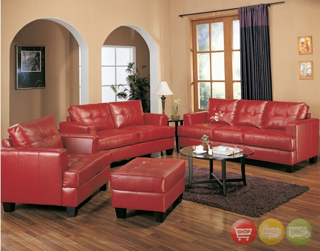 Samuel Red Bonded Leather Sofa & Love Seat Living room Furniture set