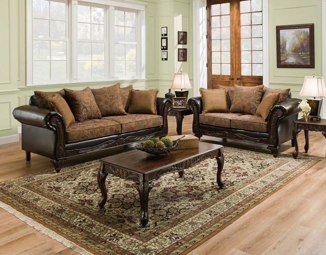 san marino traditional living room set w wood trim accent pillows