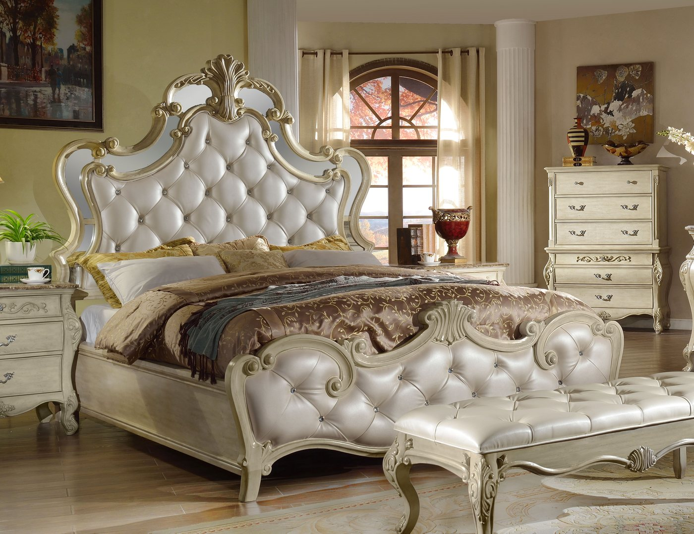 Sanctuary Antique White Queen Bed With Crystal Tufted