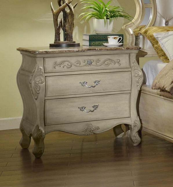 Sanctuary Ornate French 3-Drawer Marble Top Nightstand In Antique White