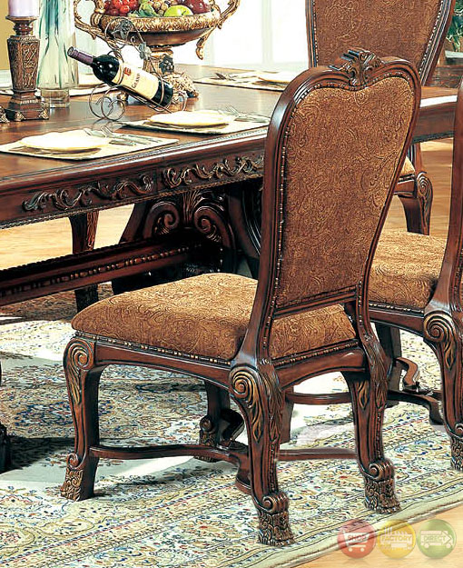 New Chateau Formal Traditional Rustic Cherry Finish Wood: Sandra Rustic Medium Wood Formal Dining Set With Buffet