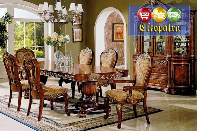 cleopatra ornate traditional cherry formal dining room furniture set