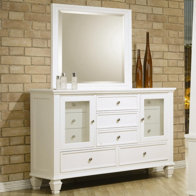 Sandy Beach Eleven Drawer White Solid Wood Dresser