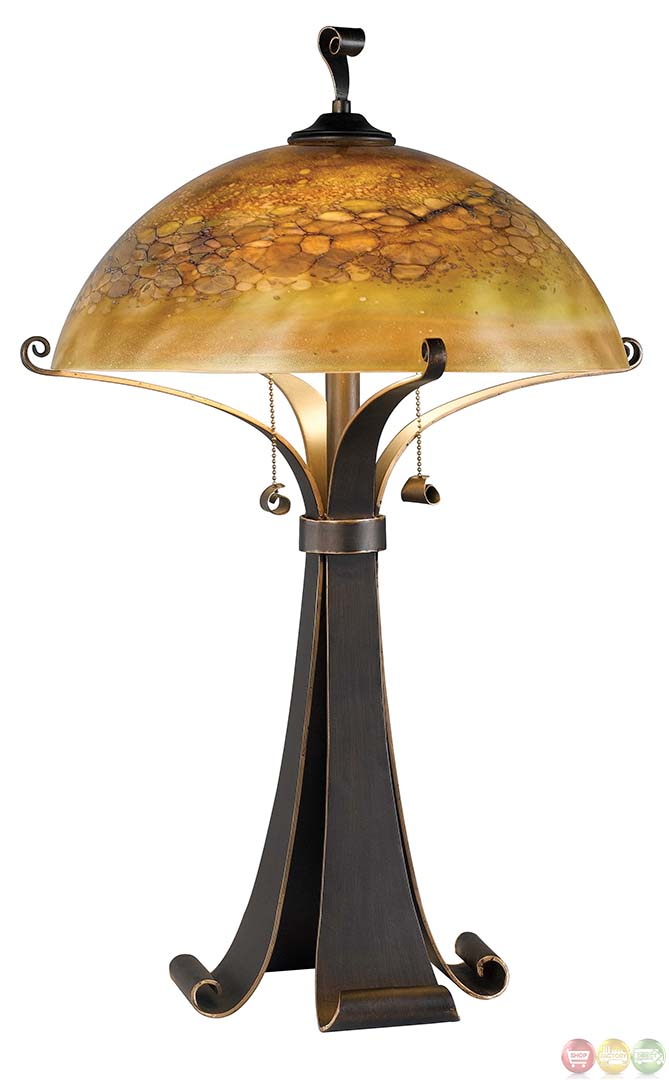 santa fe caramel pull chain switch metal table lamp. Black Bedroom Furniture Sets. Home Design Ideas