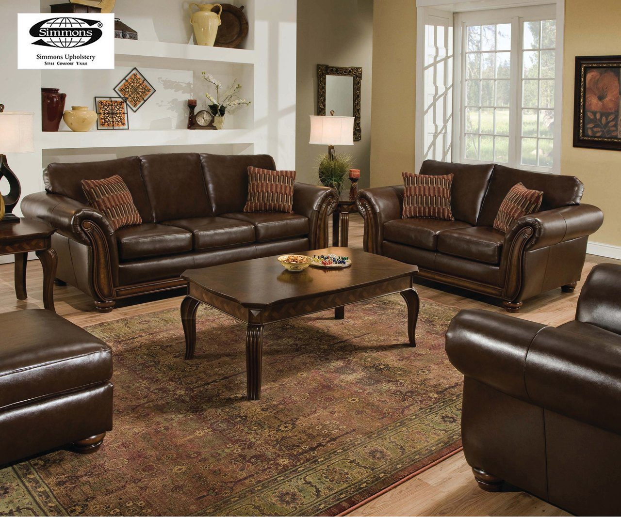 santa monica traditional bonded leather living room furniture set