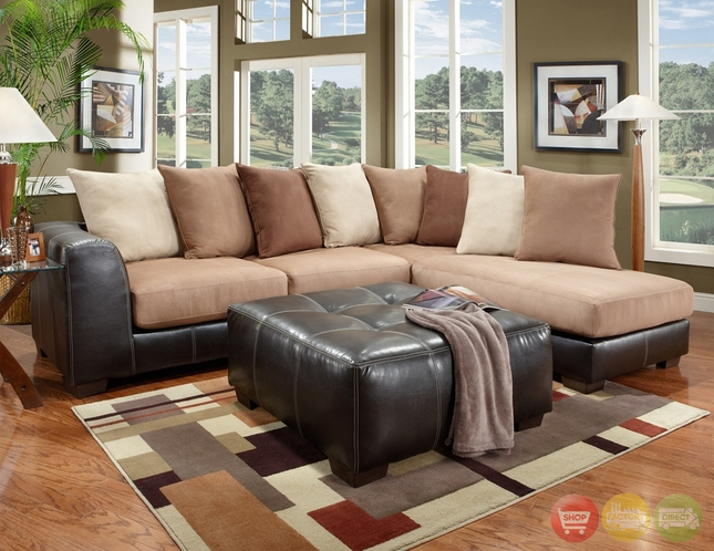 Sea Rider Beige Brown Sectional Sofa Loose Pillow Back