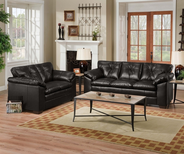 Sebring Black Bonded Leather Sofa and Loveseat Set by Simmons