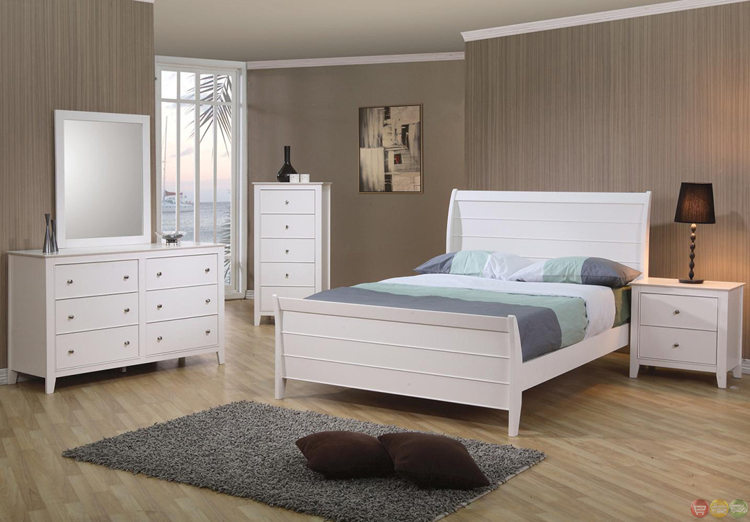 selena white twin sleigh bed bedroom set