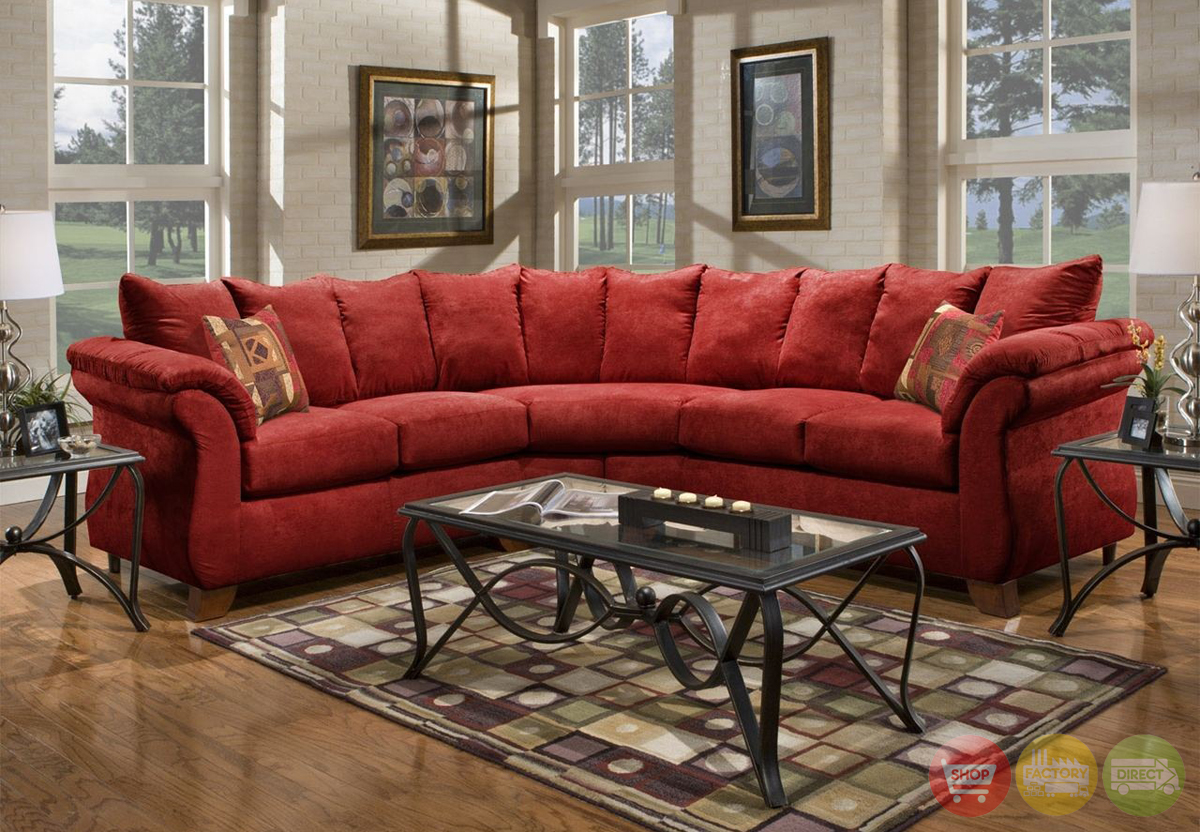 Sensations Red Microfiber Sectional Sofa with Loose Pillow  : sensations red microfiber sectional sofa loose pillow back 2017 12 from shopfactorydirect.com size 1200 x 832 jpeg 764kB