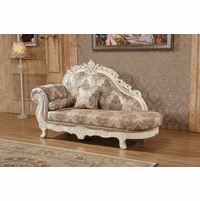 Serena Opulent Traditional Upholstered Chaise In Pearl White Gold