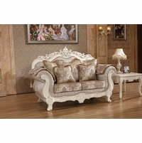 Serena Opulent Traditional Upholstered Loveseat In Pearl White Gold