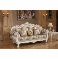 Serena Opulent Traditional Upholstered Sofa In Pearl White Gold