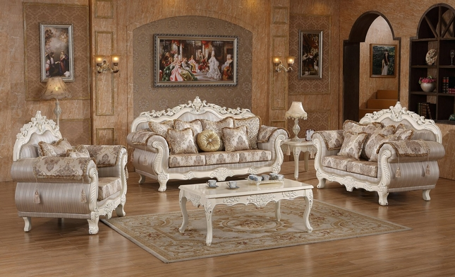 Serena Opulent Traditional Upholstered Sofa & Loveseat In Pearl White Gold