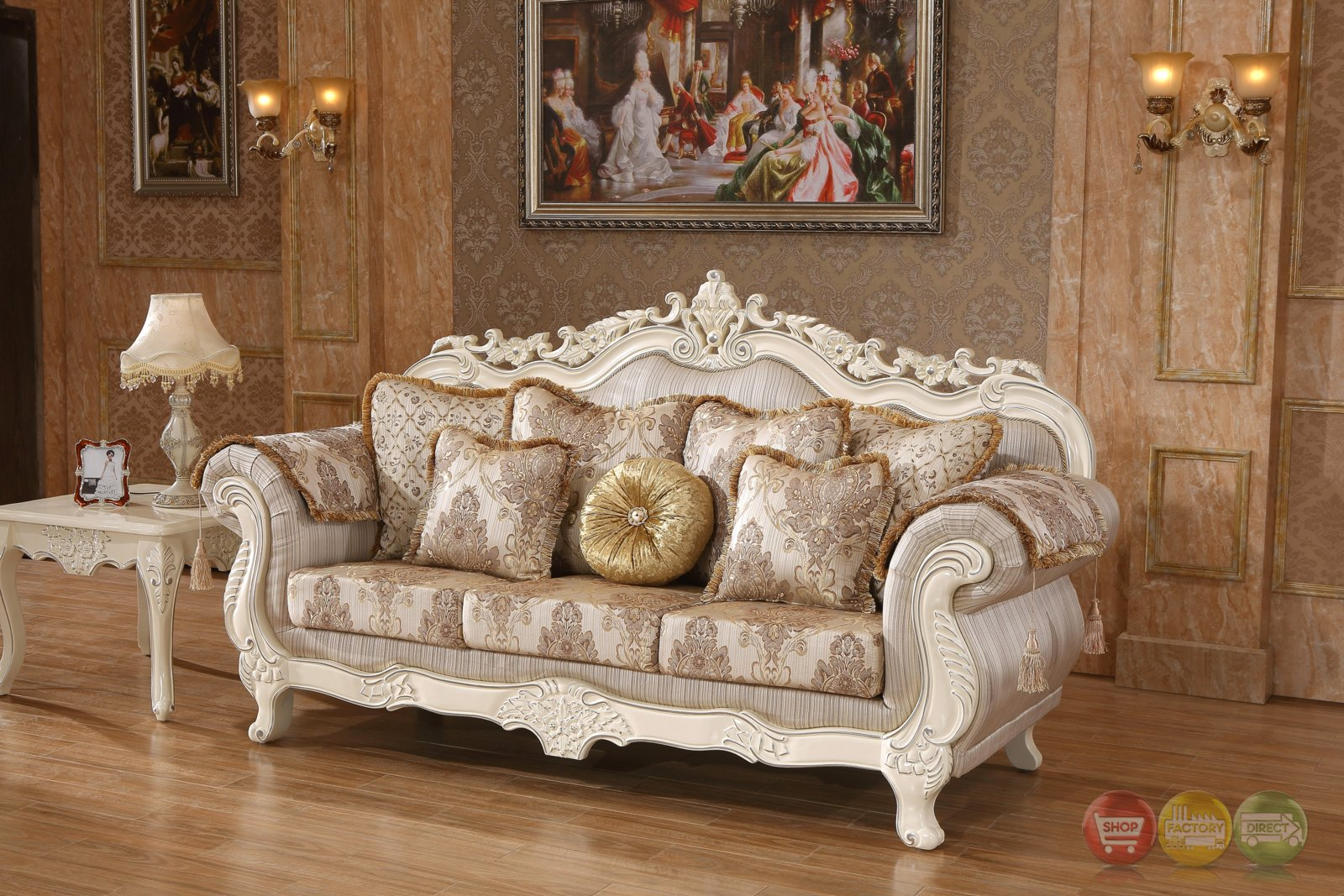Serena Opulent Traditional Upholstered Sofa In Pearl White