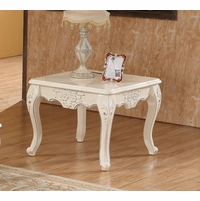 Serena Opulent Traditional Wood End Table In Pearl White Gold