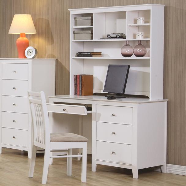 Serena Kids Computer Desk And Hutch In White With Pull Out Keyboard Tray