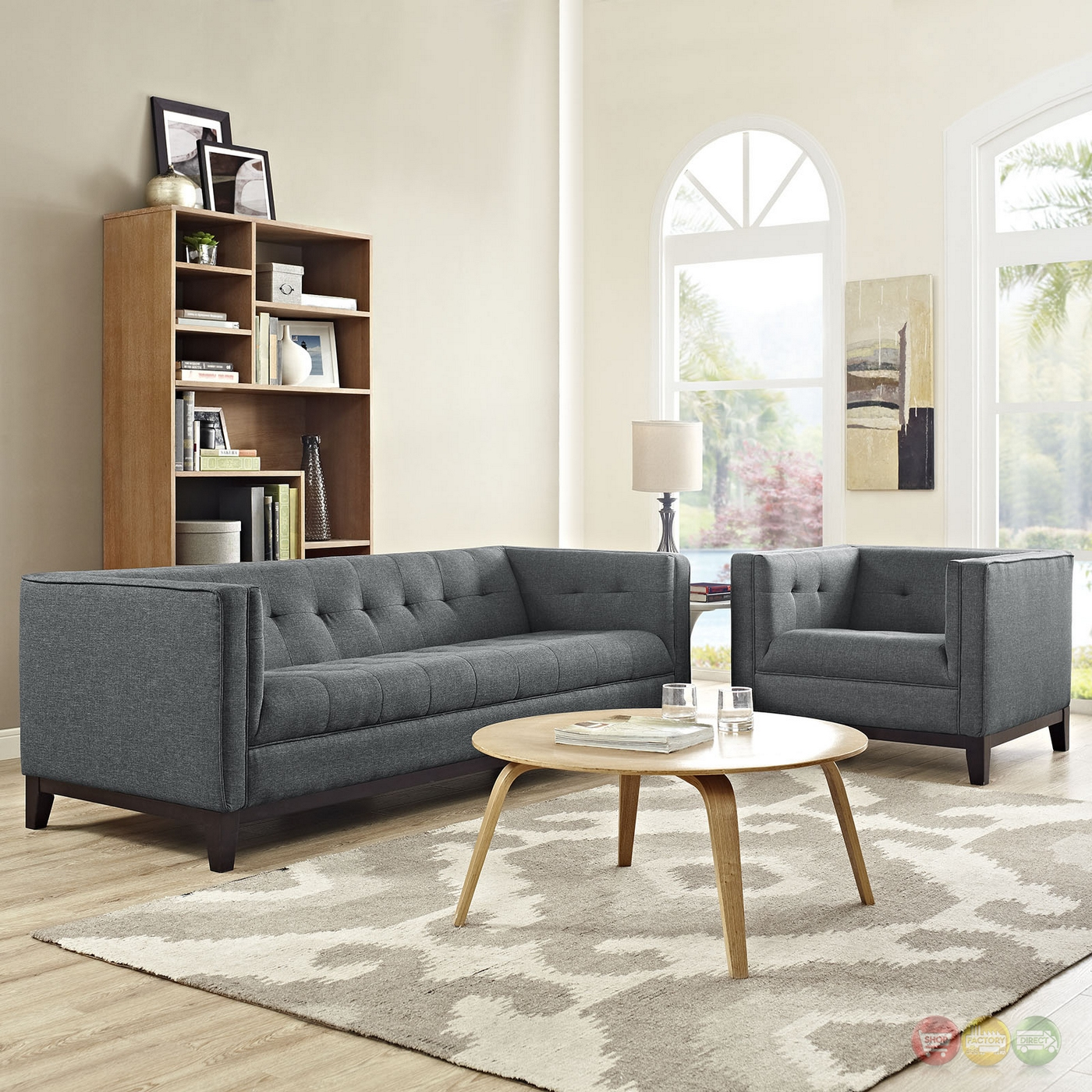 Serve Modern 2pc Upholstered Button Tufted Sofa Amp Armchair