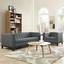Mid-Century Modern Serve 2pc Button-Tufted Sofa & Armchair Set, Gray