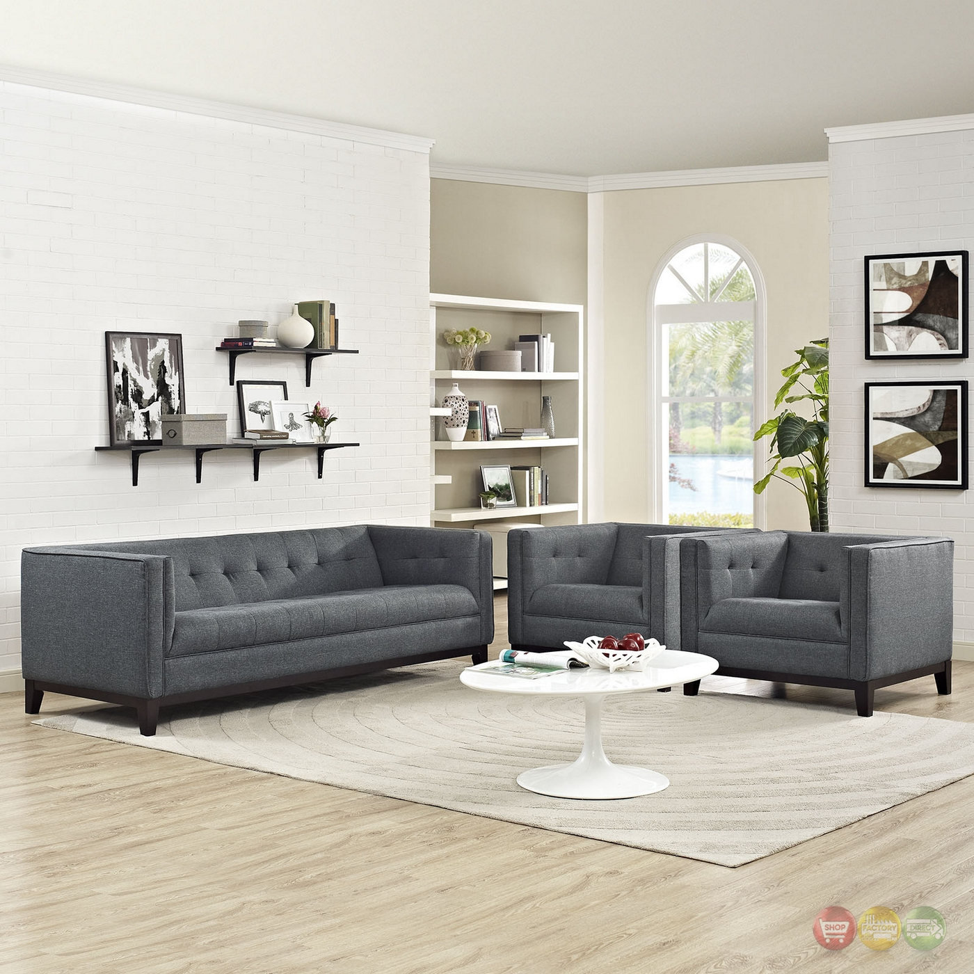 Mid-Century Modern Serve 3-pc Sofa & Armchairs Living Room Set, Gray