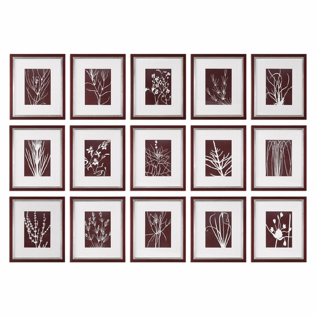 """Set Of 15, Abstract Contemporary Chic Marsala Floral Prints Wall Art, 17""""x20"""""""