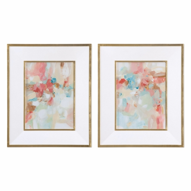 "Set Of 2, A Touch Of Blush And Rosewood Fences Pastel Framed Wall Art, 28""x34"""