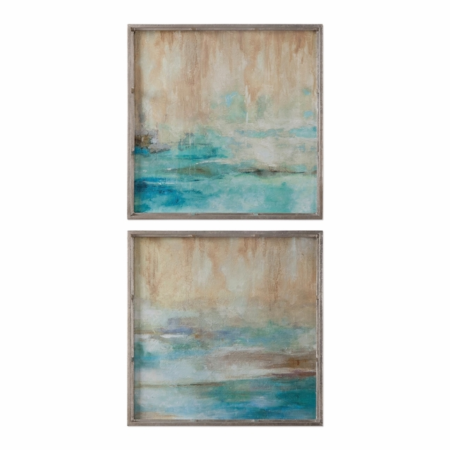 """Set Of 2, Abstract Through The Silver Mist Brushstroke Finish Wall Art, 20""""x20"""""""