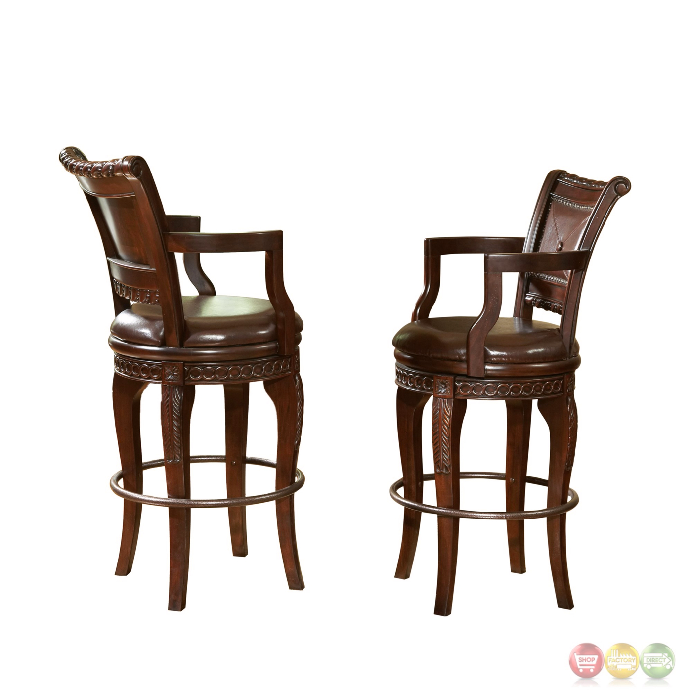 Set Of 2 Antoinette Mahogany Swivel Bar Chairs In