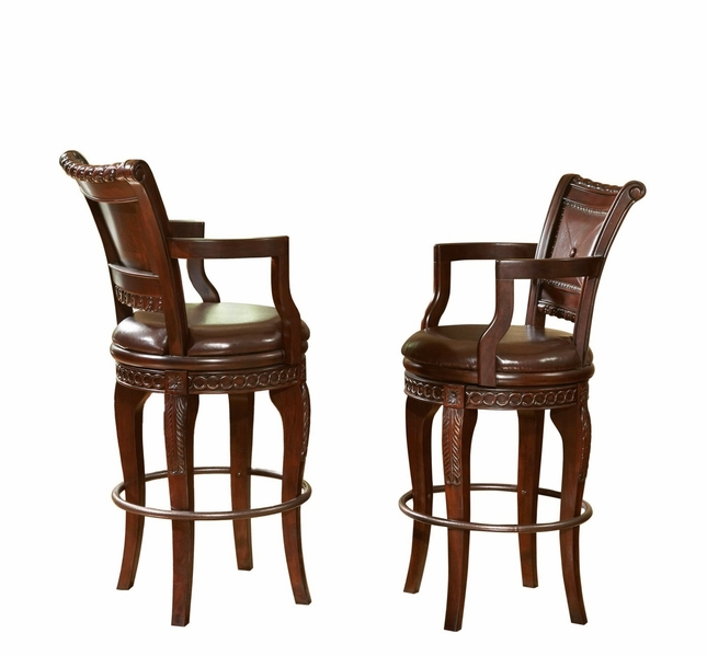 Set Of 2, Antoinette Mahogany Swivel Bar Chairs In Distresed Cherry Finish