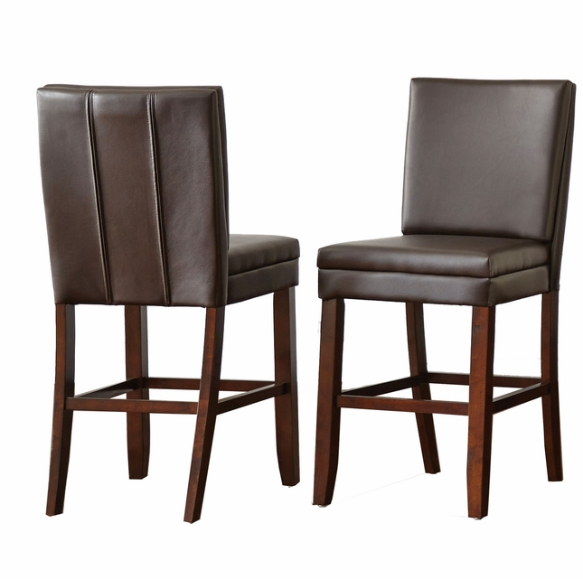 Set Of 2, Bennett Brown Vinyl Counter Height Chairs With Back Stitching