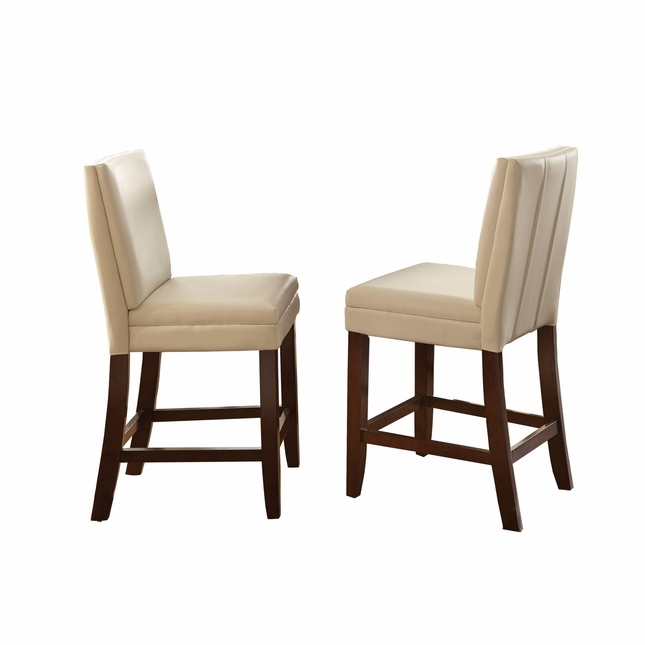 Set Of 2, Bennett White Vinyl Counter Height Chairs With Back Stitching