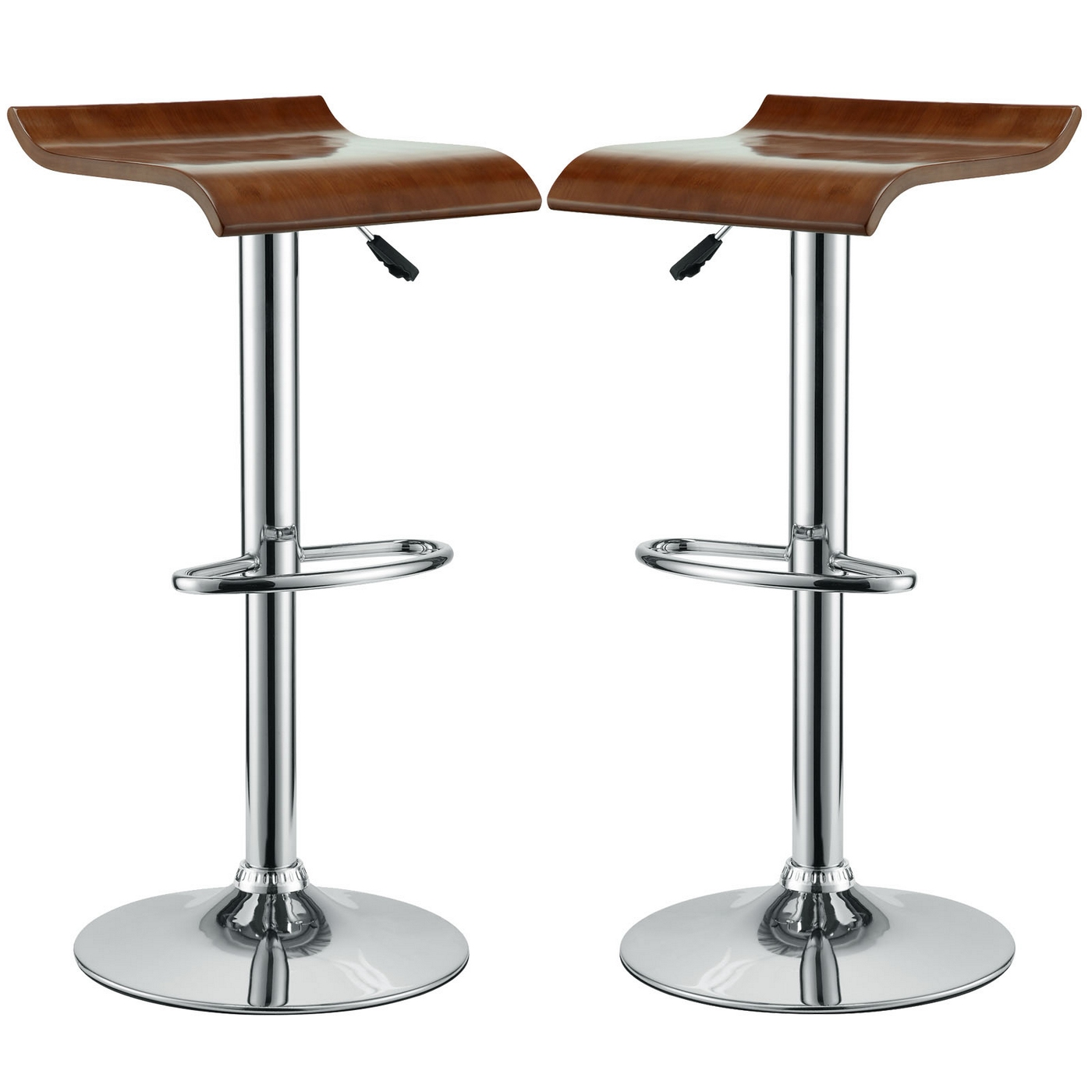 Set Of 2 Bentwood Wave Style Solid Wood Bar Stool W