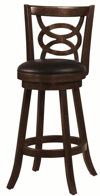 Set of 2 Cappuccino 29 Inch Curved Leg Swivel Seat Bar Stools